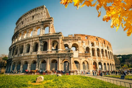 italy culture: View on Colosseum in Rome, Italy