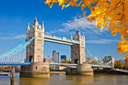 Tower bridge with autumn leaves, London Stock Photo