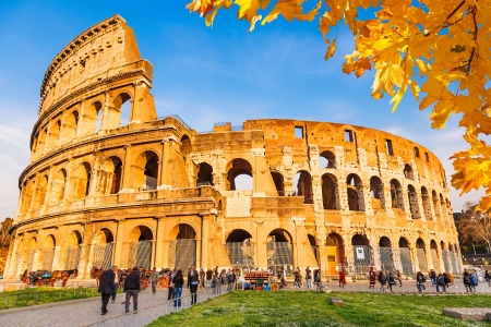 colosseum: Colosseum with autumn leaves, Rome, Italy