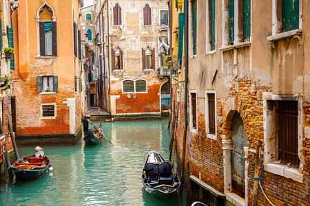 Narrow Canal in Venice, Italy photo