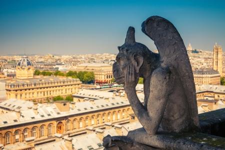 gargoyle: Gargoyle on Notre Dame Cathedral, Paris, France Stock Photo