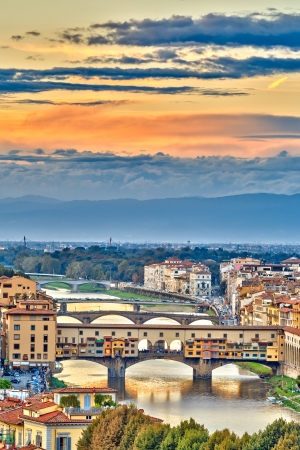 Bridges over Arno river in Florence, Italy photo