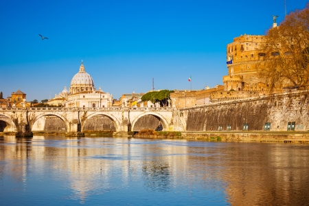 tiber: View at Tiber and St Peter Cathedral Stock Photo