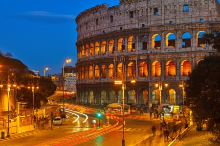 nightview: Nightview of Colosseum in Rome, Italy