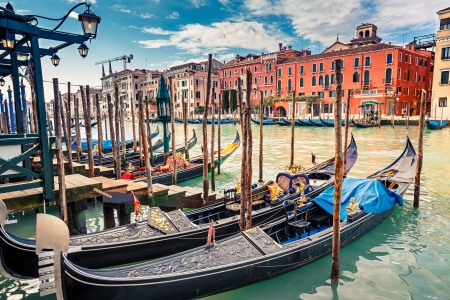 Gondolas on Grand canal in Venice, Italy Stock Photo - 23000366