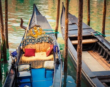 Gondolas on canal in Venice, Italy Stock Photo - 23000381