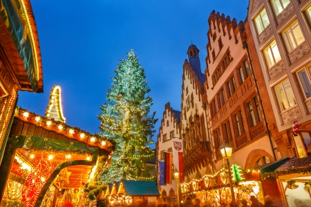 Traditional christmas market in the historic center of Frankfurt, Germany photo