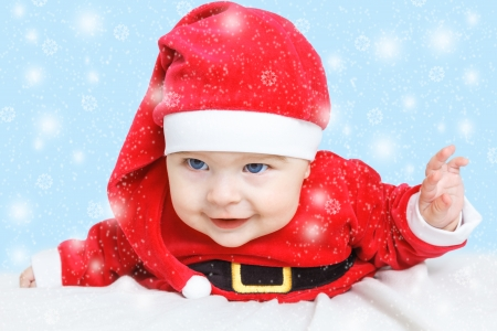 christmas baby: Baby in Santa Claus costume