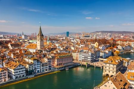 zurich: Downtown of Zurich at sunny day
