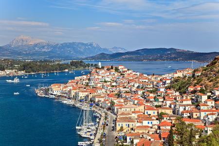 poros: Greek island Poros at sunny day