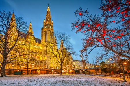 Vienna Town Hall at dusk photo
