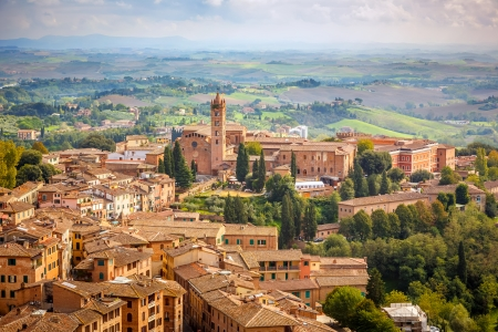 Aerial view over city of Siena, Italy Stock Photo