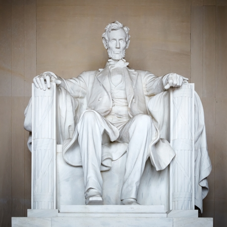 abe: Statue of Abraham Lincoln, Lincoln Memorial, Washington DC Stock Photo
