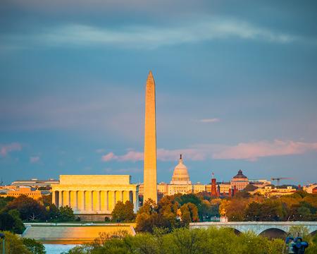 링컨 기념관, 워싱턴 기념비와 국회 의사당, 워싱턴 DC 스톡 콘텐츠