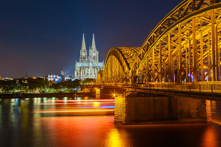 View on Cologne at night