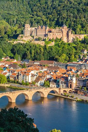 castello medievale: Vista su Heidelberg, Germania Archivio Fotografico
