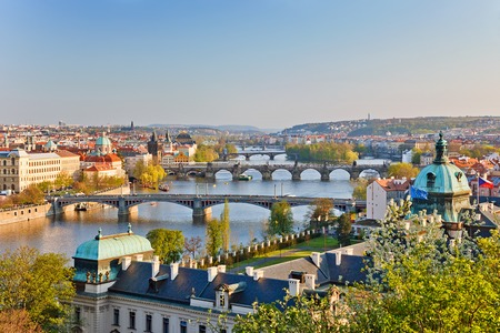 prague: View on Vltava river and Prague at sunset
