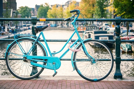 Retro style bicycle in Amsterdam, Netherlands photo