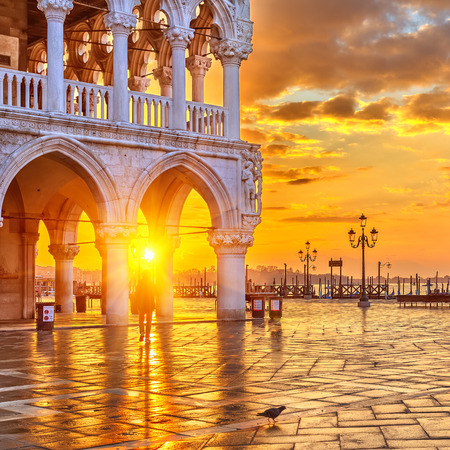 st mark's square: Piazza San Marco at sunrise, Vinice, Italy Stock Photo