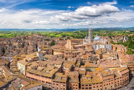 Aerial view over Siena, Italy