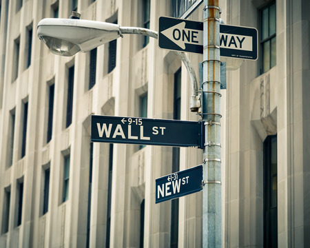 street lamp: Street signs of Wall street and New street in New York City