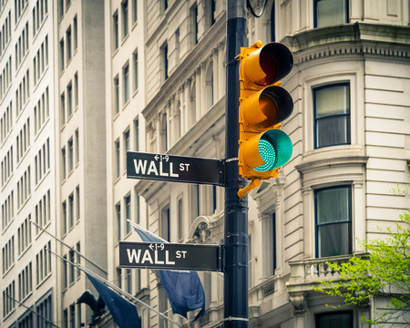 street corner: Wall street, New York Stock Photo