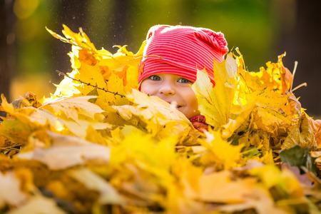 小さな女の子が紅葉で遊んで 写真素材