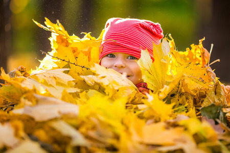 autumn in the park: Little girl playing with autumn leaves
