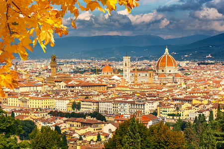 florence italy: Aerial view of Florence