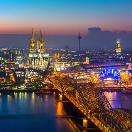 central european: Cologne at dusk Stock Photo