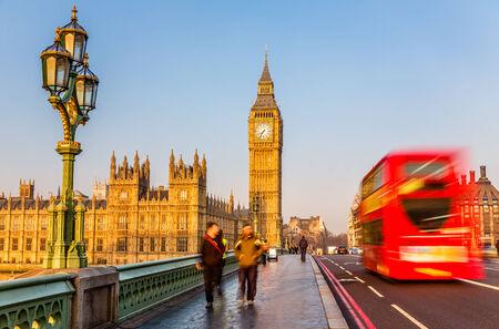 doubledecker: Big Ben and red double-decker bus, London
