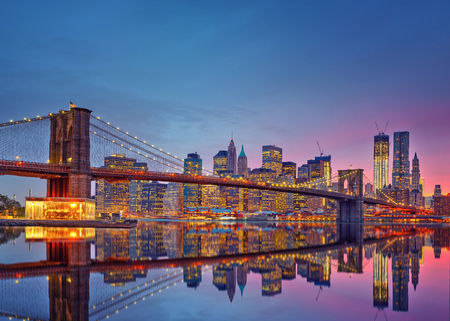 new york city panorama: Brooklyn bridge and Manhattan at dusk Stock Photo