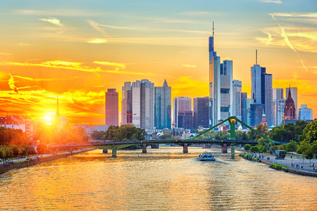 Frankfurt at sunset Stock Photo