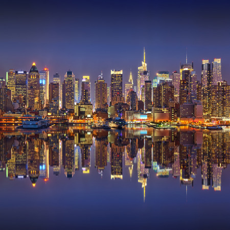 new york city panorama: Manhattan at night Stock Photo