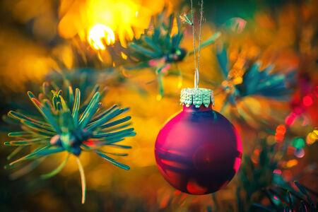 christmas bulbs: Decorated Christmas tree Stock Photo