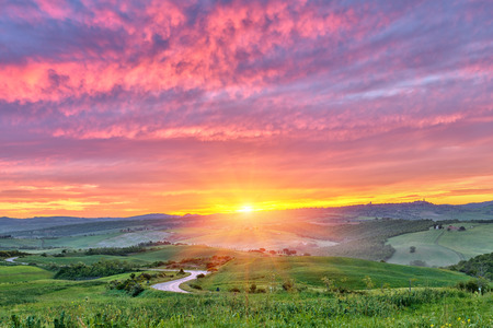 tuscan: Tuscany sunrise Stock Photo