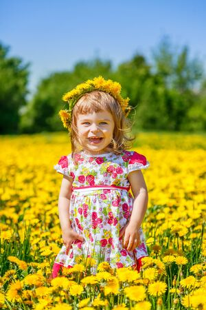 1 2 years: Little girl on the dandelion field