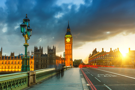 london tower: Big Ben at sunset, London
