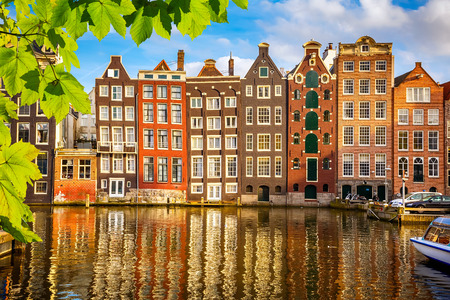 amsterdam canal: Old buildings in Amsterdam