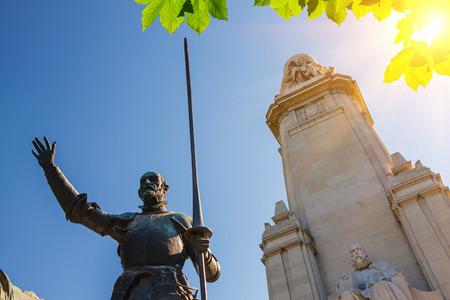 don quixote: Miguel de Cervantes monument, Plaza de Espana, Madrid