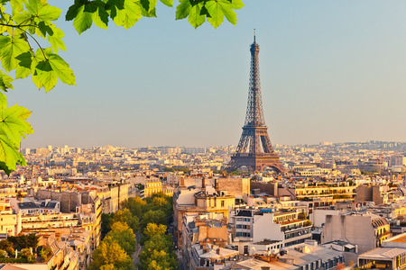 paris france: View on Eiffel tower at sunset Stock Photo