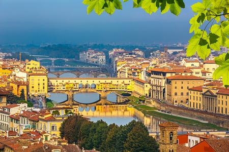 arno: Bridges over Arno river in Florence Stock Photo