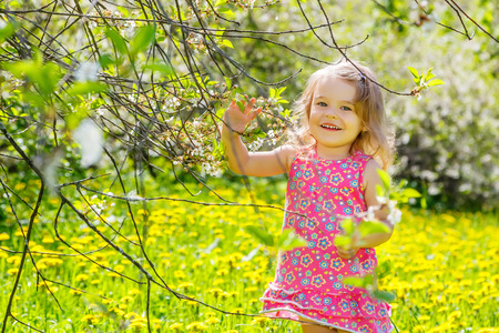 Happy little girl in spring sunny park photo