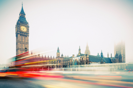 doubledecker: Big Ben and double-decker bus, London Stock Photo