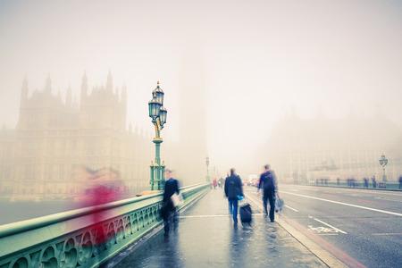 fog: Westminster bridge in London Stock Photo