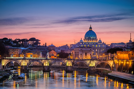Night view at St. Peters cathedral in Rome, Italy