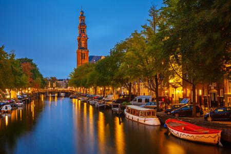 Western church on Prinsengracht canal in Amsterdam