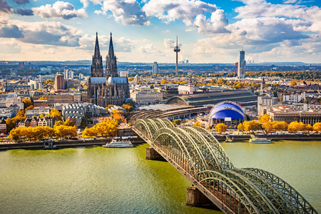 and germany: Aerial view of Cologne, Germany