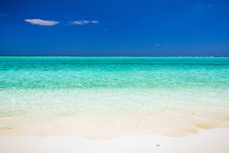 horizons: Beautiful ocean beach on Maldives Stock Photo