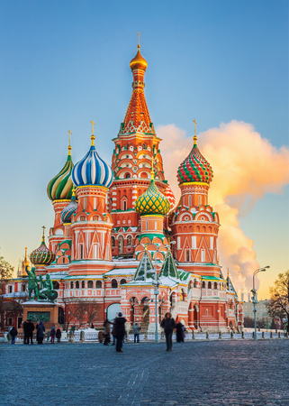 moscow: View on St. Basils Cathedral in Moscow, Russia